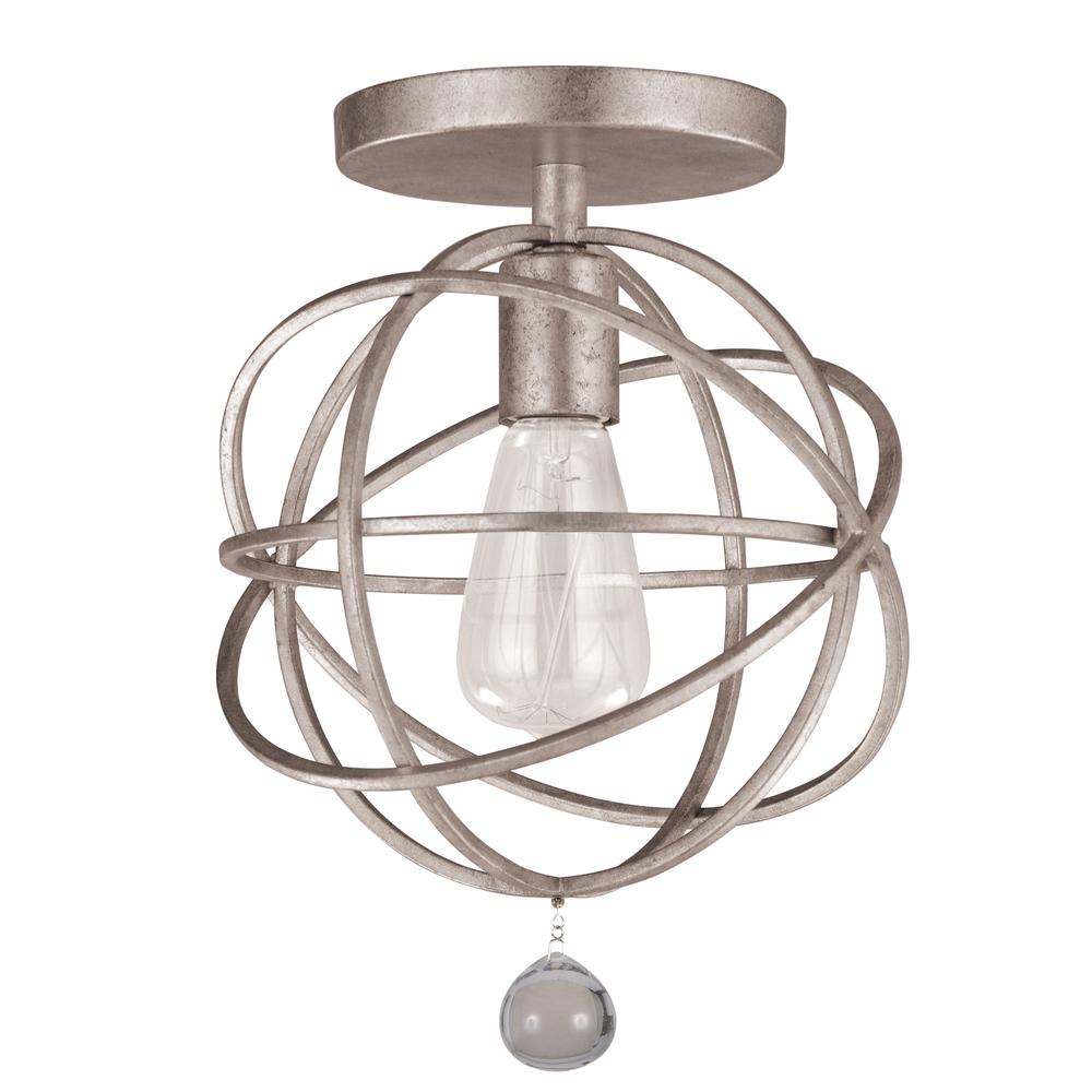 1 light olde silver industrial ceiling mount