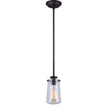 "Canarm IPL623A01ORB - MILL, IPL623A01ORB, 1 Lt Rod Pendant, Seeded Glass, 60W Type A, 5"" (W) x 11 1/2"" - 59 1/2&#3"