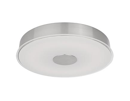 Led flush mount with round frosted glass with crystal clear edges